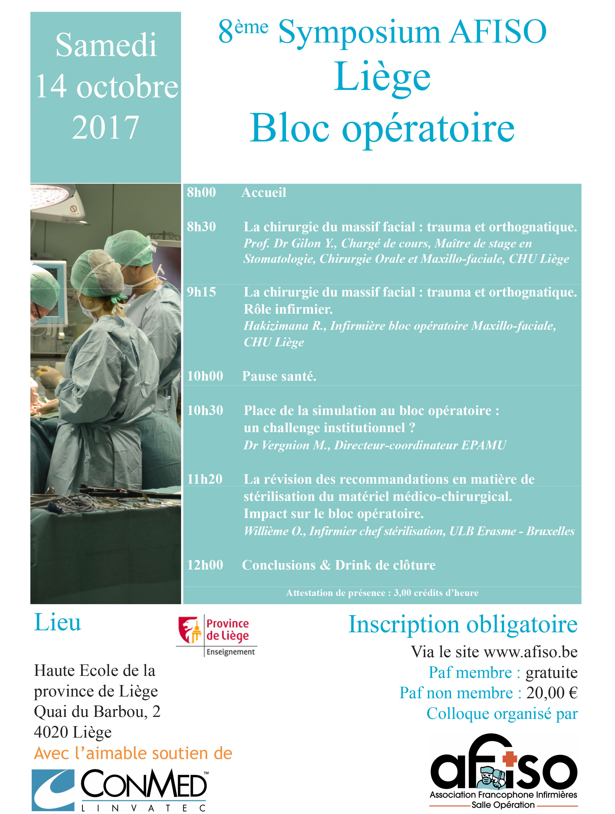 Samedi 14 octobre 2017 : 8ème Symposium de la Régionale AFISO Liège