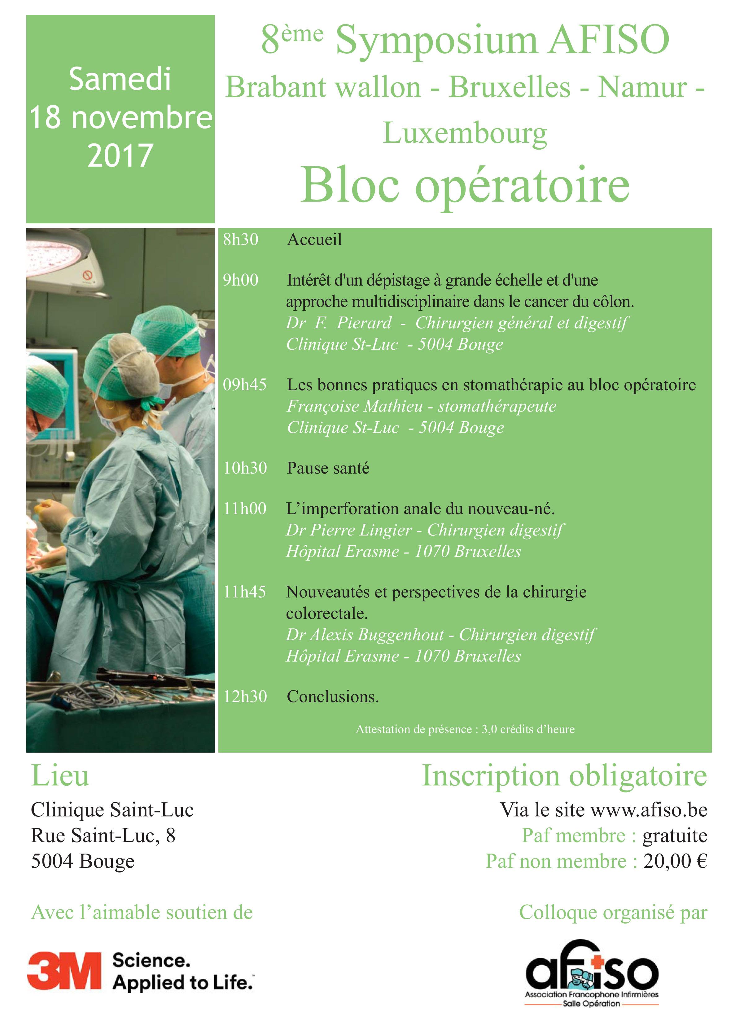 Samedi 18 novembre 2017 - 8ème Symposium AFISO Brabant wallon - Bruxelles - Namur - Luxembourg