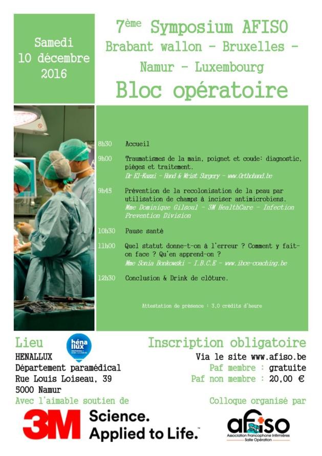 Samedi 10 décembre 2016   7ème Symposium de la régionale AFISO Namur / Brabant / Bruxelles / Luxembourg