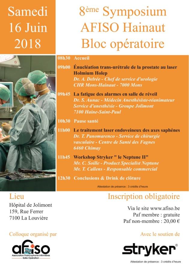 Samedi 16 juin 2018 : 8ème Symposium AFISO Hainaut