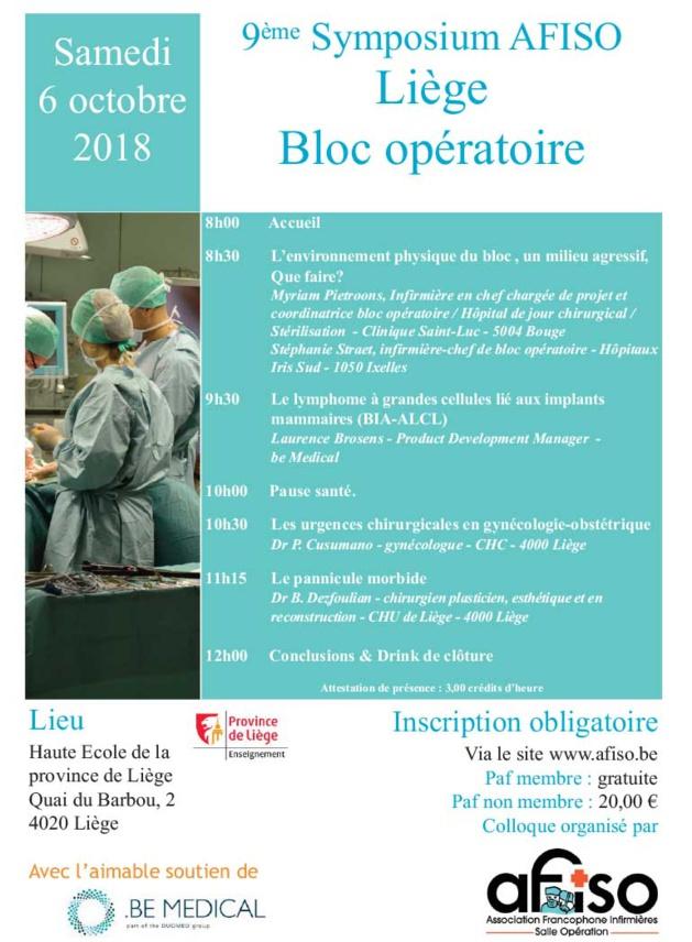Samedi 6 octobre 2018 - 9ème Symposium AFISO Liège