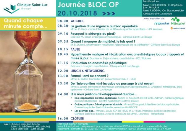 """Samedi 20 Octobre 2018 - Journée Bloc Op à Bouge -  """"Quand chaque minute compte ..."""""""