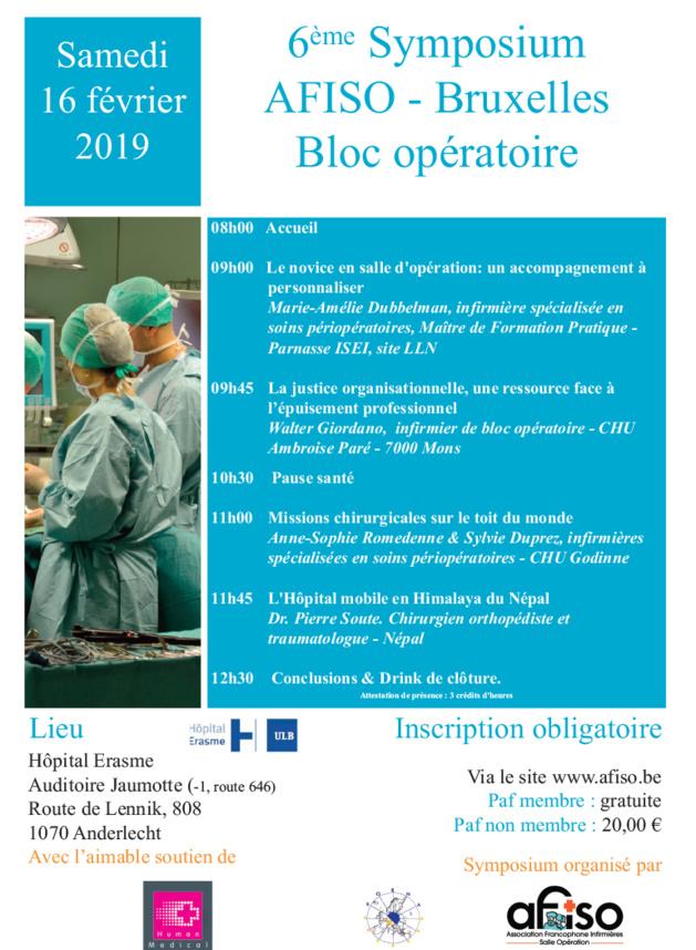 Samedi 16 février 2019 - 6ème Symposium de la régionale AFISO Bruxelles