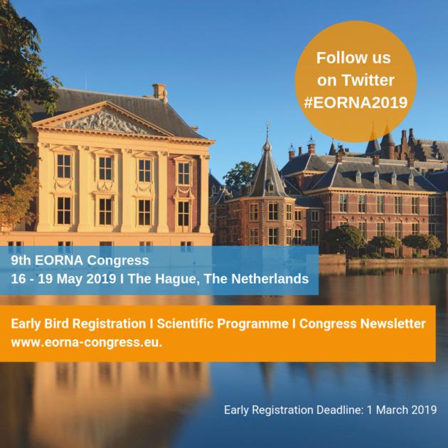 EORNACongress 2019 à La Haye aux Pays-Bas - Inscrivez-vous avant le 1er mars et bénéficiez d'une réduction de 20 %
