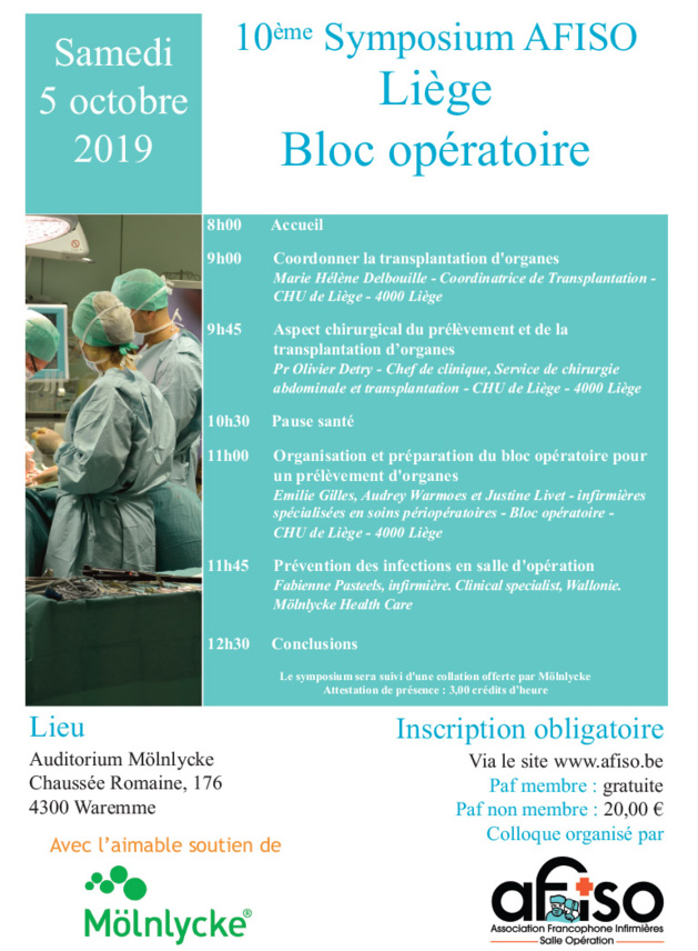 Samedi 5 octobre 2019 - 10ème Symposium AFISO Liège à WAREMME