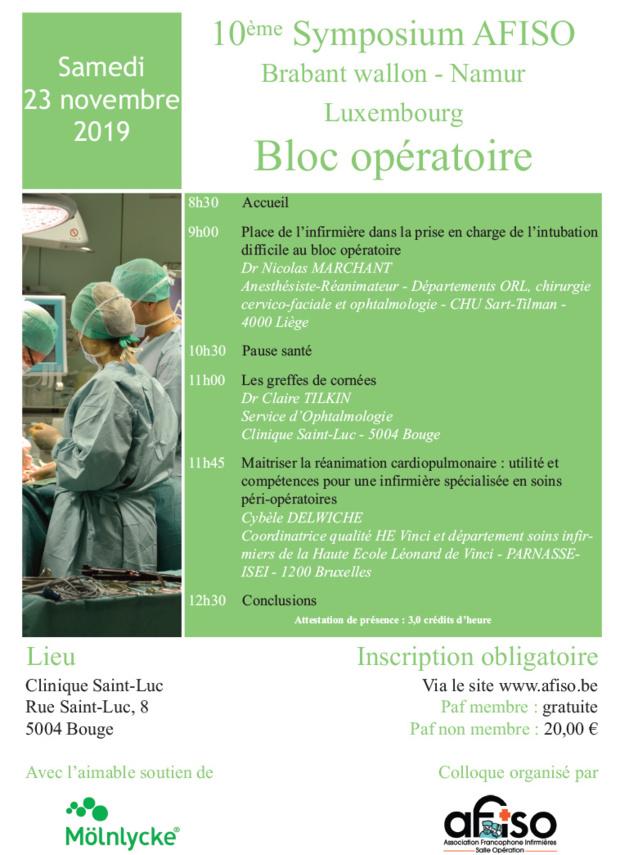 Samedi 23 novembre 2019 - 10ème Symposium AFISO Brabant wallon - Namur - Luxembourg