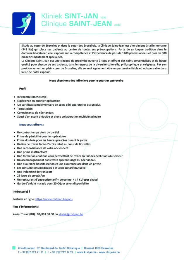 La Clinique Saint-Jean à Bruxelles cherche des infirmiers (m/f) pour le quartier opératoire