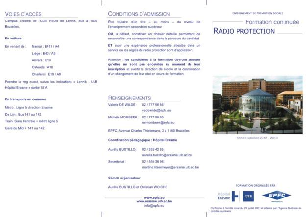 ULB Erasme - Anderlecht - Formation continuée en radioprotection