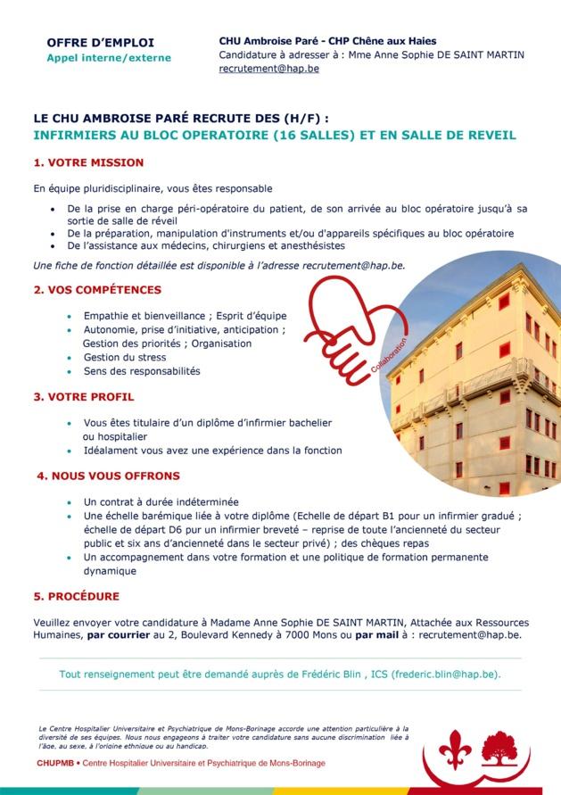 Le CHU Ambroise Parée recrute des (H/F) : infirmiers au bloc opératoire (16 salles) et en salle de réveil