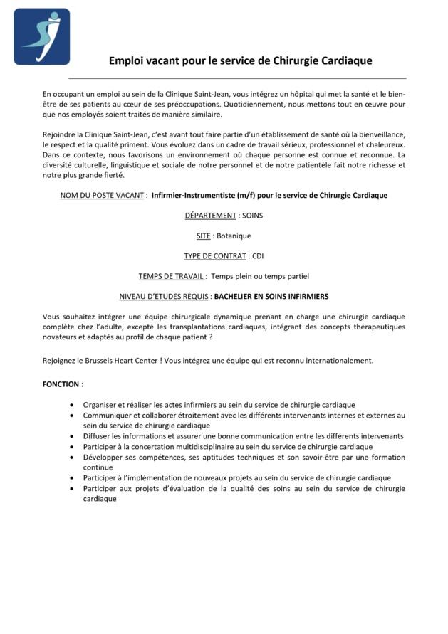 Clinique Saint-Jean - Emploi vacant d'infirmier instrumentiste (m/f) pour le service de Chirurgie Cardiaque