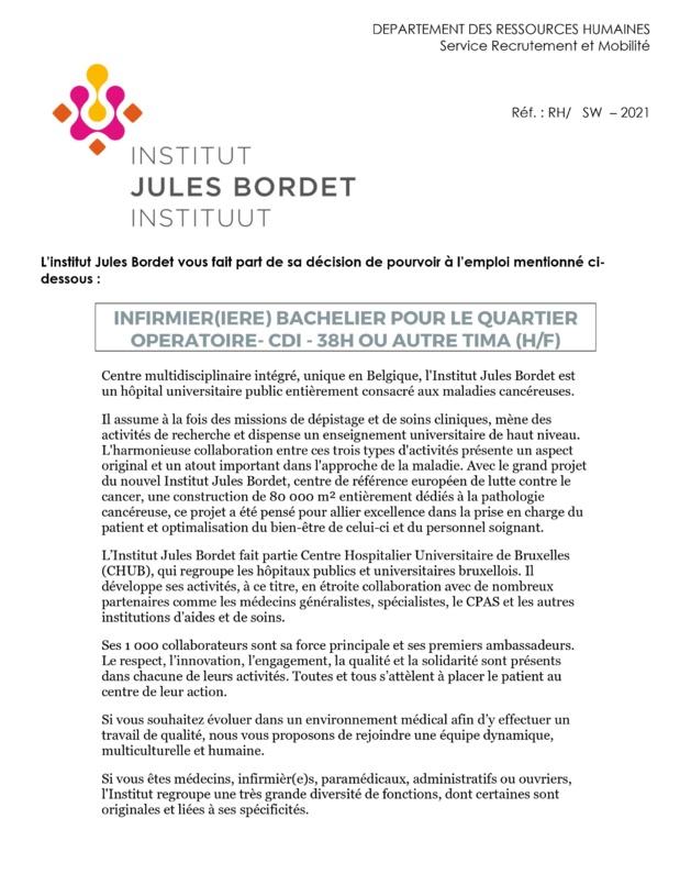 L'institut Jules Bordet engage infirmier (m/f) bachelier pour le quartier opératoire