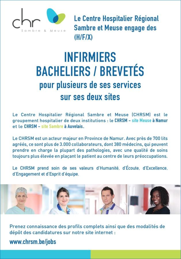 Le Centre Hospitalier Régional Sambre et Meuse engage des (H/F/X) infirmiers bacheliers / brevetés pour plusieurs de ses services sur ses deux sites