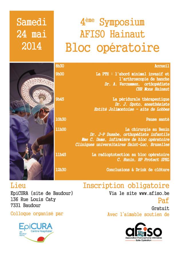 L'AFISO - Régionale du Hainaut organise son 4ème Symposium le samedi 24 mai 2014