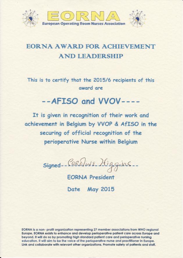 L'AFISO récompensée à EORNACongress 2015 pour son action dans la reconnaissance du titre
