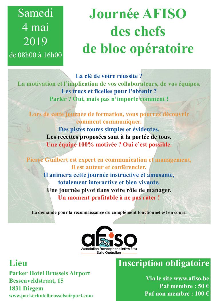 Samedi 4 mai 2019 - Journée AFISO des chefs de bloc opératoire