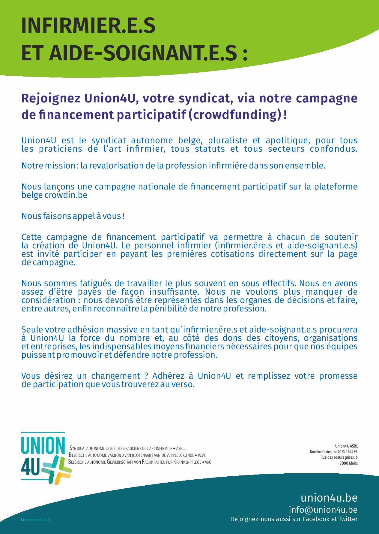 Rejoignez Union4U, votre syndicat, via notre campagne de financement participatif (crowdfunding) !