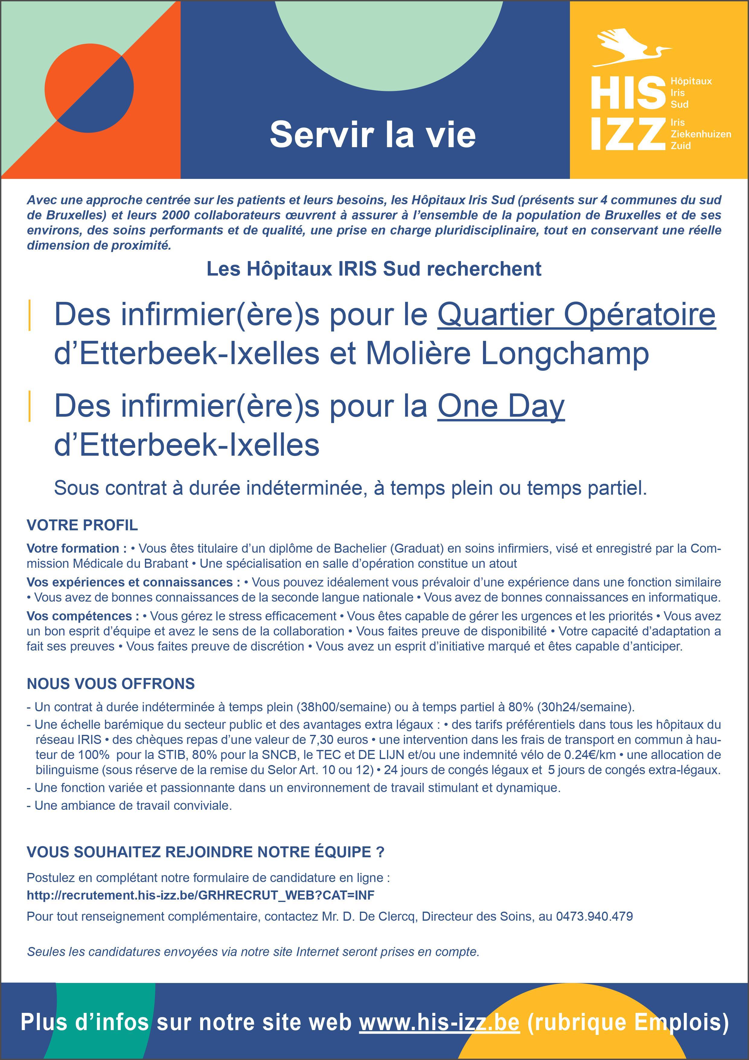 Les Hôpitaux Iris Sud recherchent des infirmiers (h/f) pour le Quartier Opératoire d'Etterbeek-Ixelles et Molière Longchamp et pour la One Day d'Etterbeek-Ixelles