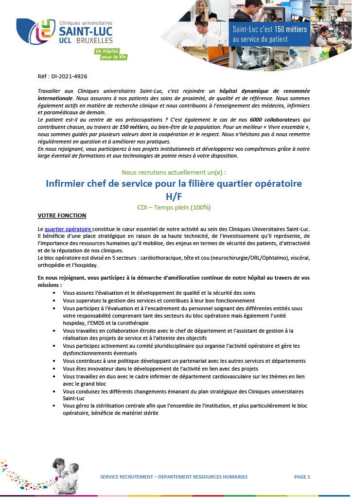 Les Cliniques universitaires Saint-Luc recrutent un (h/f) infirmier chef de service pour la filière quartier opératoire