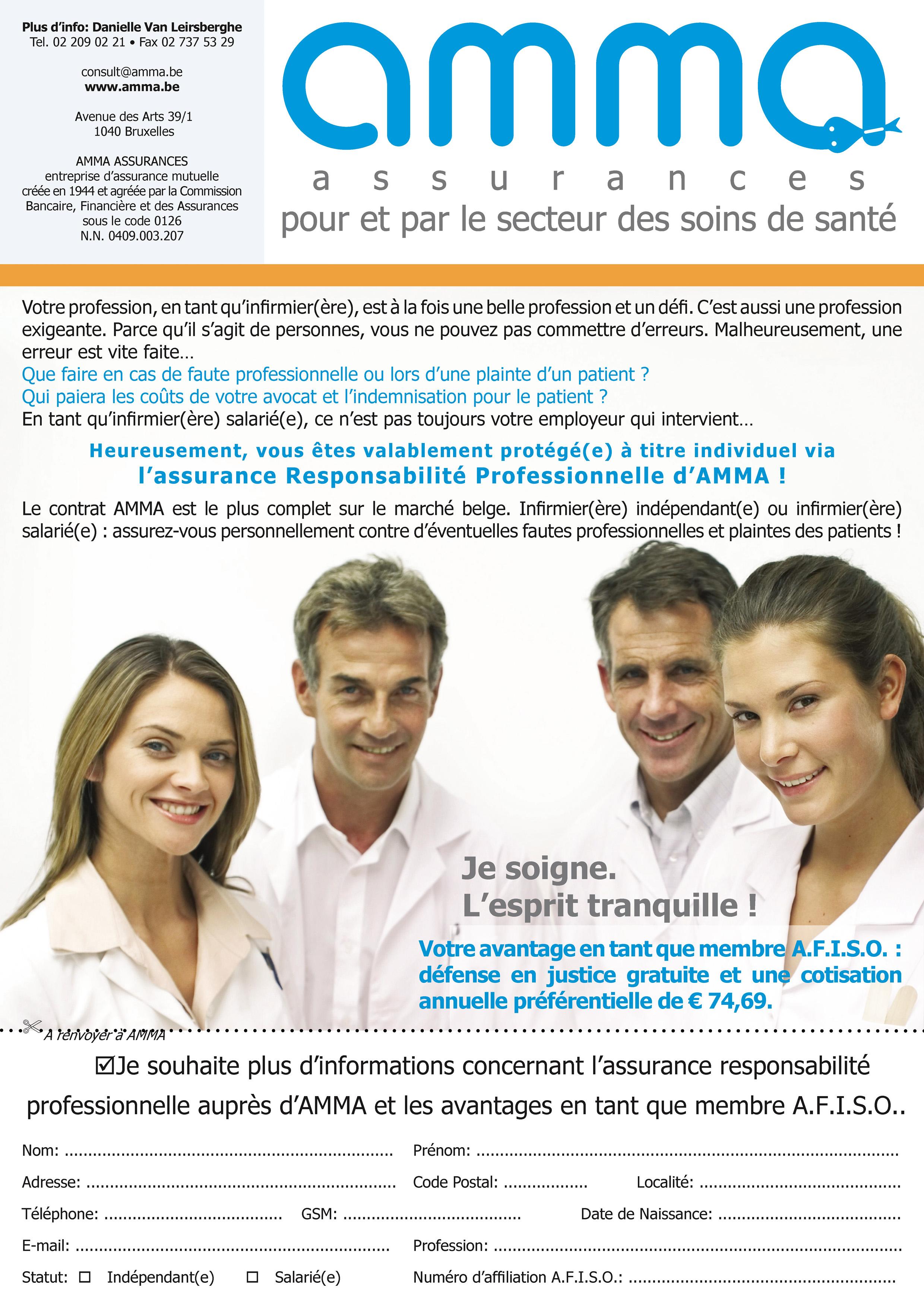Tarif 2014 reconduit en 2015 : AMMA vous propose une assurance professionnelle avantageuse en tant que membre AFISO avec plus de 50 % de réduction par rapport au tarif normal !
