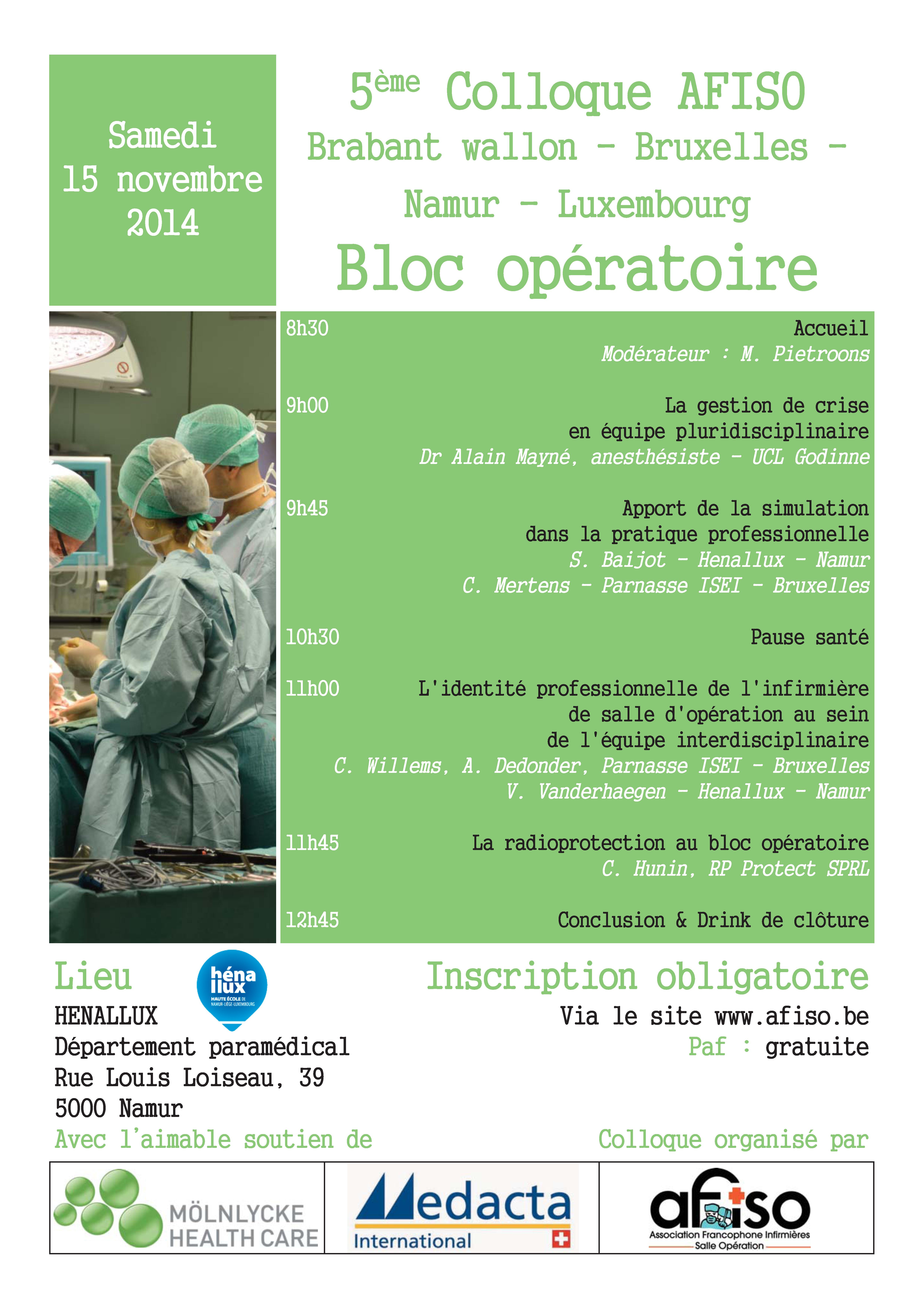 15 novembre 2014 : 5ème Symposium de la régionale AFISO Namur / Bxl / Brabant / Luxembourg