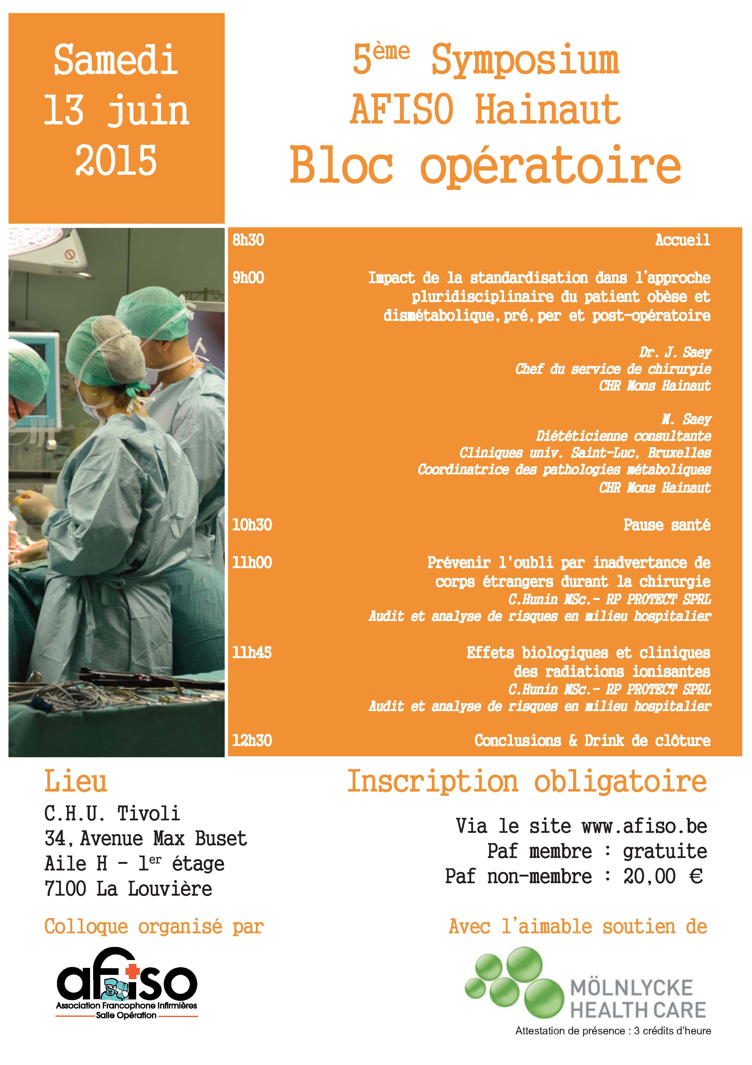 Samedi 13 juin : 5ème Symposium AFISO Hainaut