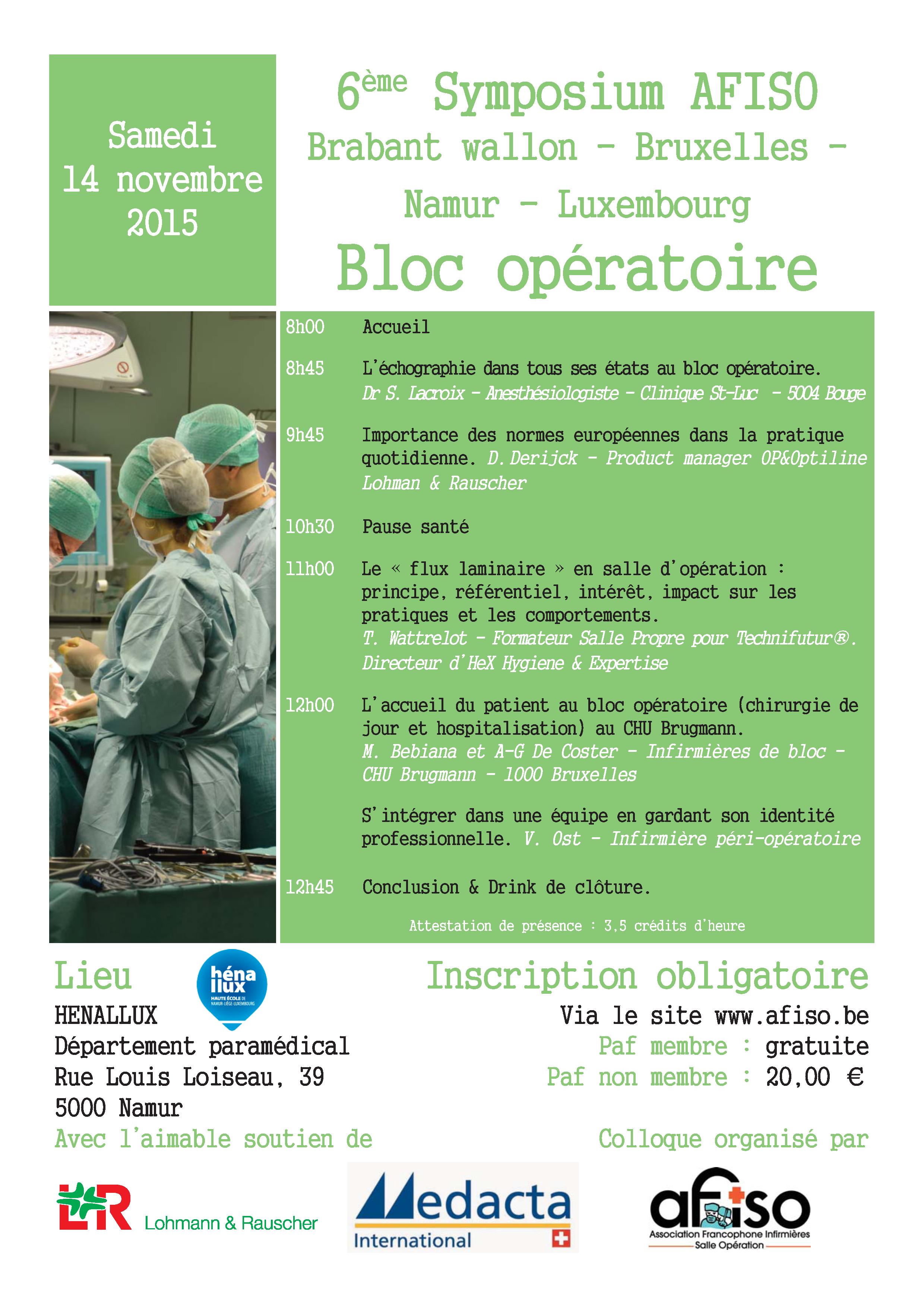 14 novembre 2015 : 6ème Symposium de la régionale AFISO Namur / Brabant / Bruxelles / Luxembourg